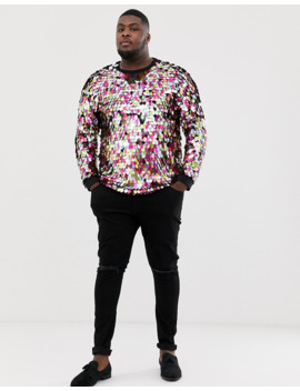 Asos Design Plus Festival T Shirt With Large Multicoloured Sequins by Asos Design