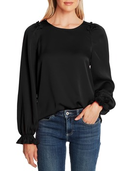 Textured Satin Long Puff Sleeve Blouse by Cece