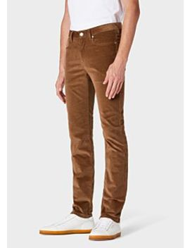 Men's Tapered Fit Brown Corduroy Five Pocket Trousers by Paul Smith