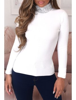 Sparkle Sweetheart Stretchy Cream Jewel Turtle Neck Jumper by Pink Boutique