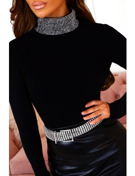 Sparkle Sweetheart Stretchy Black Jewel Turtle Neck Jumper by Pink Boutique