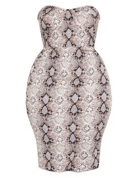 Plus Taupe Snake Print Corset Midi Dress  by Prettylittlething