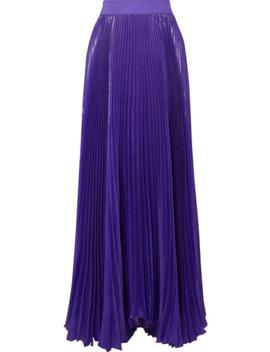Katz Pleated Metallic Silk Blend Maxi Skirt by Alice + Olivia