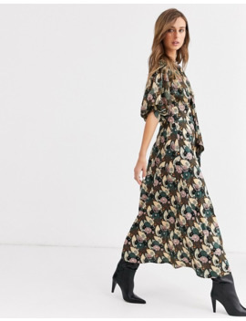 Topshop Midi Dress With Gathered Neck In Green by Topshop