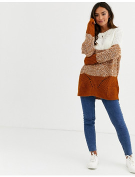 Jdy Oversized Jumper In Colour Block by Jdy's