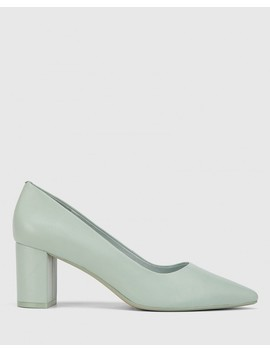 Dalena Sage Nappa Leather Block Pointed Toe Block Heel by Wittner