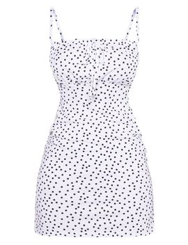 Petite White Polka Dot Ruched Bust Mini Dress  by Prettylittlething