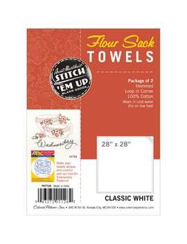 "Stitch 'em Up Flour Sack Towels 28""X28"" 2/Pkg White                      Stitch 'em Up Flour Sack Towels 28""X28"" 2/Pkg White by Aunt Martha's"