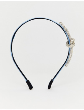 Asos Design Headband With Crystal Knot In Blue Satin by Asos Design