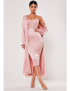 Blush Satin Lace Midi Dress Kimono Duo Co Ord Set by Missguided