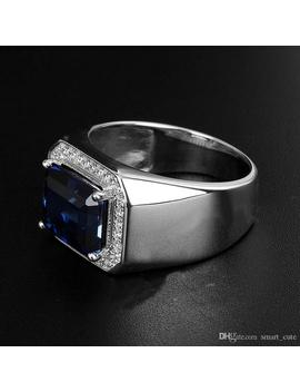 Mens Sapphire Ring With Side Diamonds Blue Corundum 925 Sterling Silver Open End Ring Plated Platinum Ring Tanzania Color by D Hgate.Com