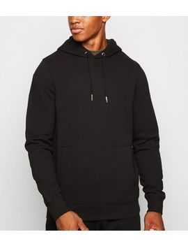 Black Plain Hoodie by New Look