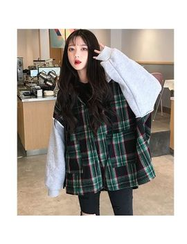 Whoosh   Plaid Panel Hooded Button Jacket by Whoosh