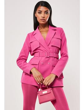 Hot Pink Utility Belted Blazer by Missguided