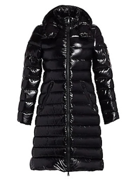 Moka Lacquer Long Puffer Coat by Moncler
