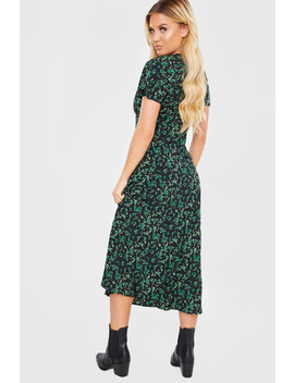 Black Floral V Neck Midi Dress by In The Style