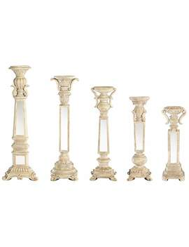 Theia Set Of 5 Mirrored Candle Holders by Lamps Plus
