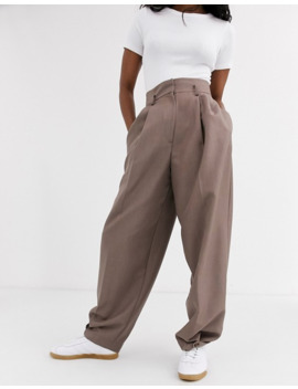 Asos Design Cuffed Wide Leg Trousers In Brown by Asos Design