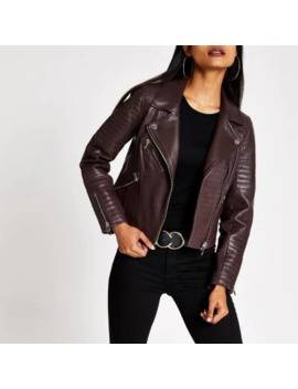 Petite Dark Red Leather Biker Jacket by River Island