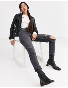 Topshop Mom Jeans With Rips In Washed Black by Topshop