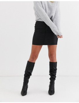 Topshop Denim Mini Skirt In Coated Black by Topshop