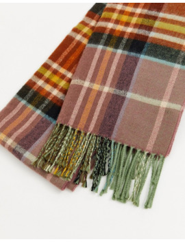 Topshop Check Scarf In Toffee by Topshop