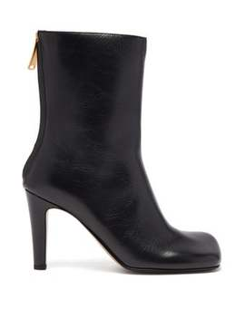 Squared Toe Leather Boots by Bottega Veneta