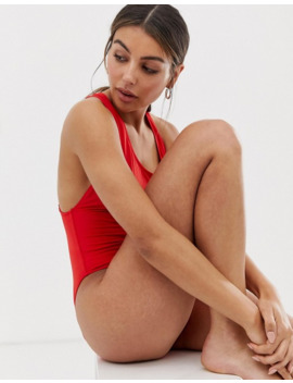 Weekday High Leg Cross Bag Swimsuit In Bright Red by Weekday