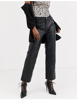 Object Leather Straight Leg Trousers by Object
