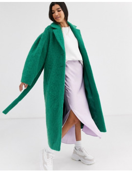 Asos Design Power Sleeve Coat In Green by Asos Design