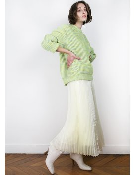 Pale Yellow Iridescent Pleated Skirt by The Frankie Shop