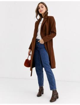 Pimkie Tie Waist Wool Coat In Brown by Pimkie