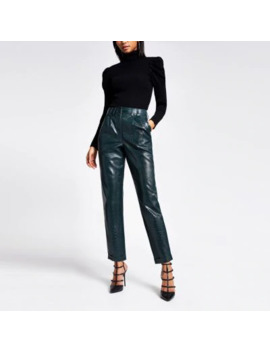 Green Faux Leather Croc Embossed Trousers by River Island