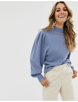 &Amp; Other Stories Puff Shoulder Marino Wool Jumper In Blue by & Other Stories