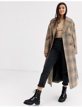 Asos Design Belted Coat In Check by Asos Design