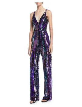 Dress The Population Charlie Brushstroke Sequin Sleeveless Jumpsuit by Dress The Population