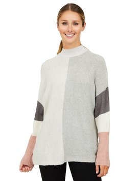 Colour Block Metallic Knit Sweater by Suzy Shier