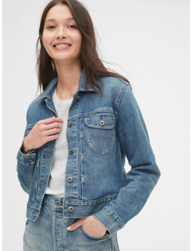 Pleated Icon Denim Jacket With Back Buckle by Gap