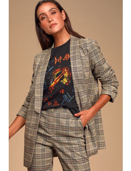 Coffee Dates Light Brown Plaid Ruched Sleeve Blazer by Lulus