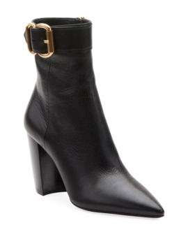 Leather Booties With Buckle Detail by Prada