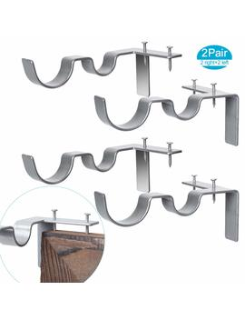 2 Pairs Curtain Rod Brackets Set Double Curtain Rod Holders Easy No Drilling Tap Right Into Window Frame For Rods Window Bedroom Decoration  Adjustable Curtain Rod Brackets by Tingor