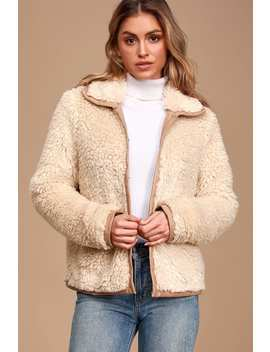 Fur Evermore Cream Faux Fur Jacket by Lulus