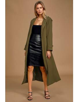 Take Cover Olive Green Belted Trench Coat by Lulus