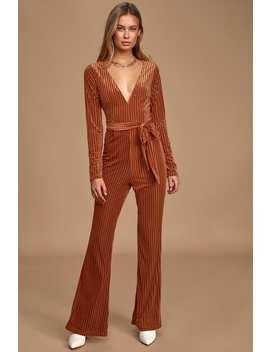 Striking A Pose Rust Orange Velvet Striped Long Sleeve Jumpsuit by Lulus
