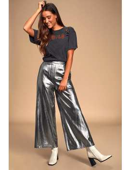 Space Age Metallic Silver Wide Leg Cropped Pants by Lulus