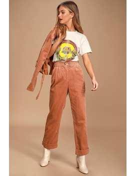 Meet Me In Midtown Terra Cotta Corduroy Trouser Pants by Lulus