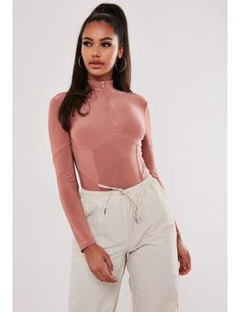 Rose Slinky High Neck Corset Detail Bodysuit by Missguided