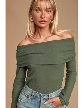 Austra Olive Green Off The Shoulder Knit Sweater Top by Lulus