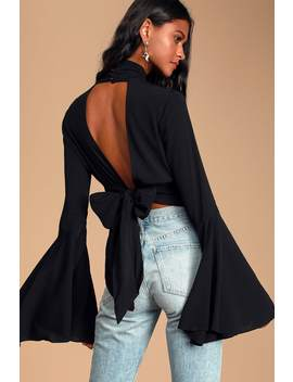 Drama Queen Black Backless Bell Sleeve Top by Lulus