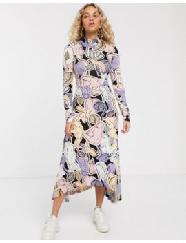 Monki Floral Print High Neck Maxi Dress In Multi by Monki